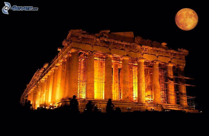 Partenón, Atenas, noche, Luna