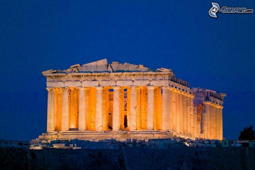 Partenón, Atenas, noche