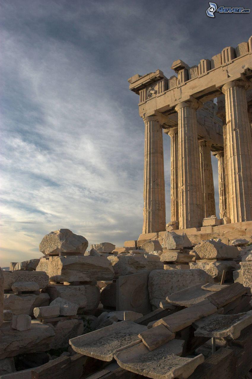 Partenón, Atenas, piedras, cielo