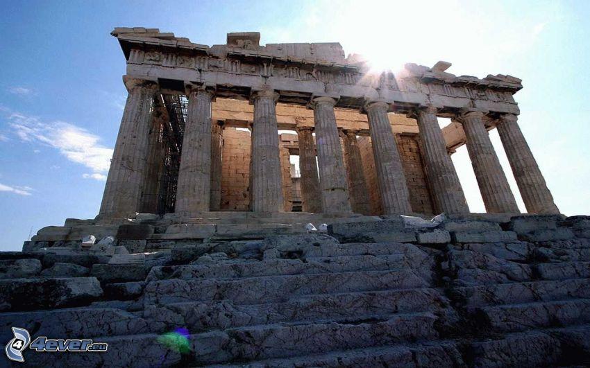 Partenón, Atenas, sol
