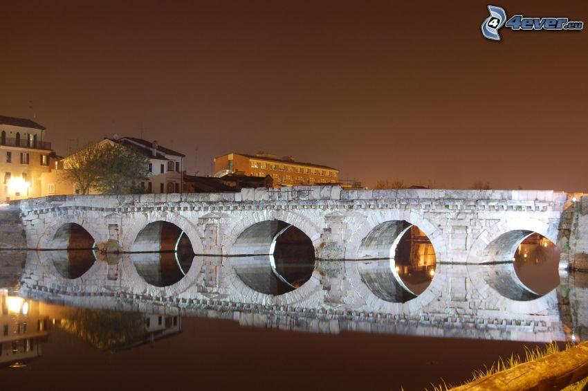 puente de piedra, puente iluminado, río