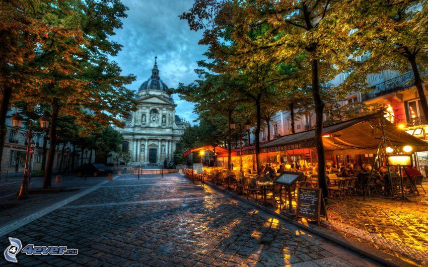 Sorbonna, Universidad de París, París, plaza, HDR