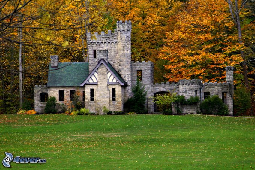 Squire's Castle, bosque de otoño, césped