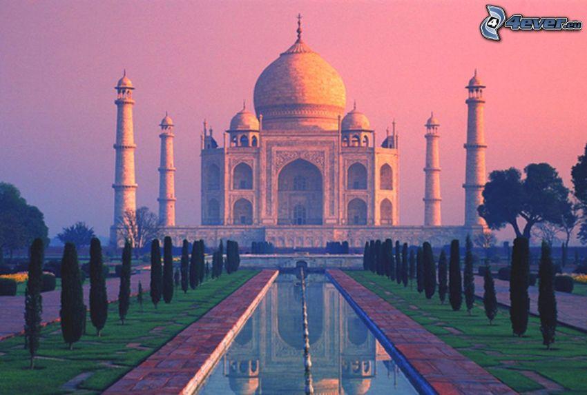 Taj Mahal, agua, árboles, cielo púrpura