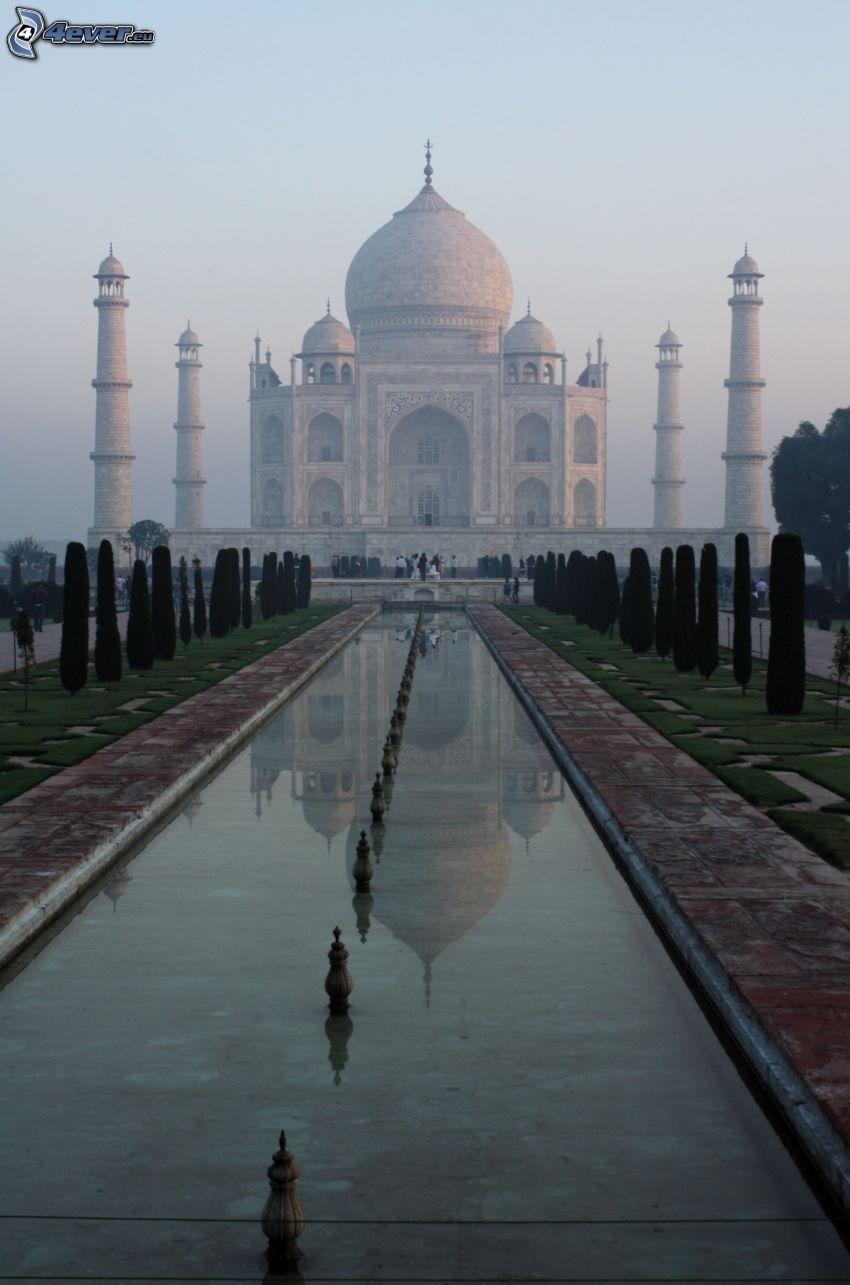 Taj Mahal, agua, árboles, parque