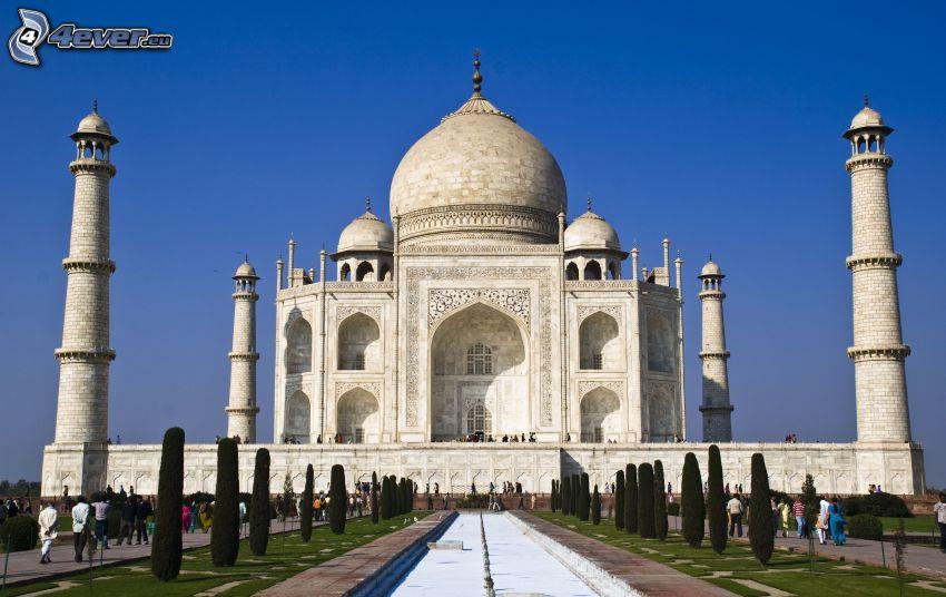 Taj Mahal, agua, árboles