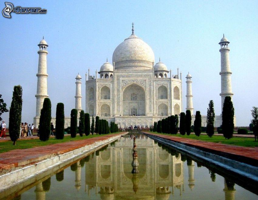Taj Mahal, agua, parque