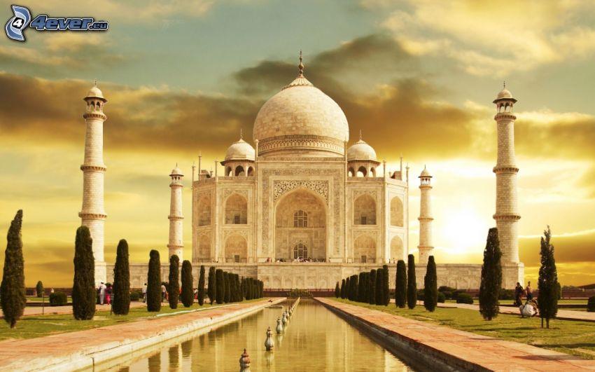 Taj Mahal, agua, puesta del sol
