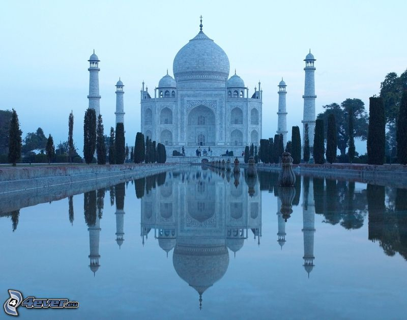 Taj Mahal, agua, reflejo
