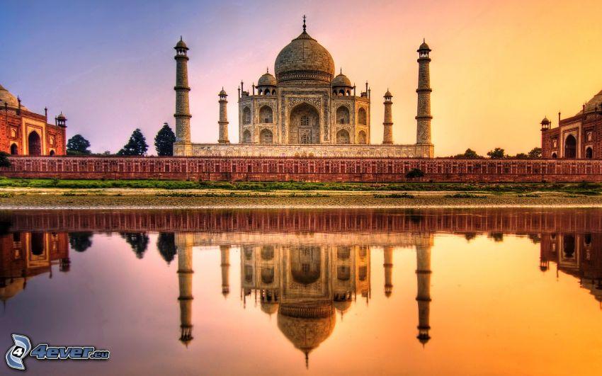 Taj Mahal, mezquita, reflejo, HDR