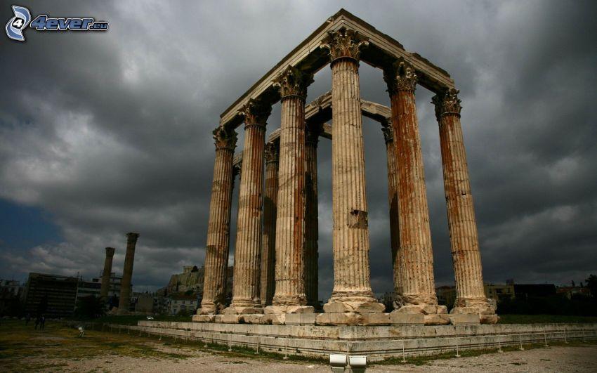 templo, Atenas, Grecia, nubes