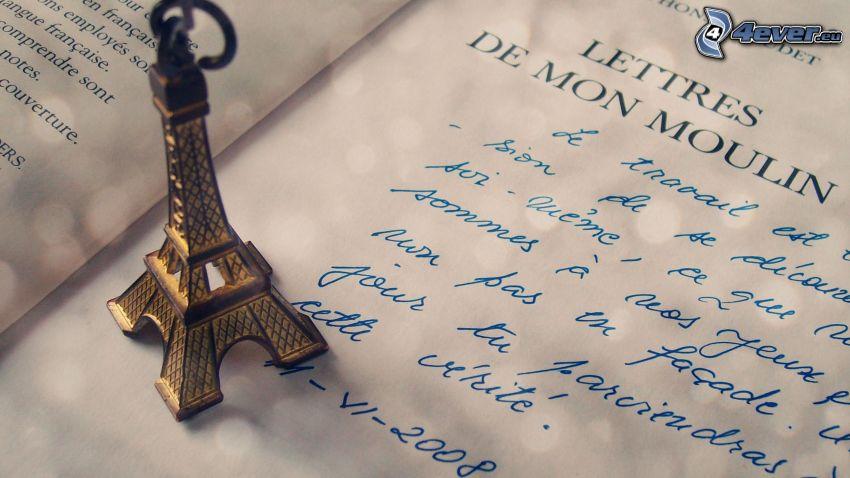 Torre Eiffel, colgante, carta