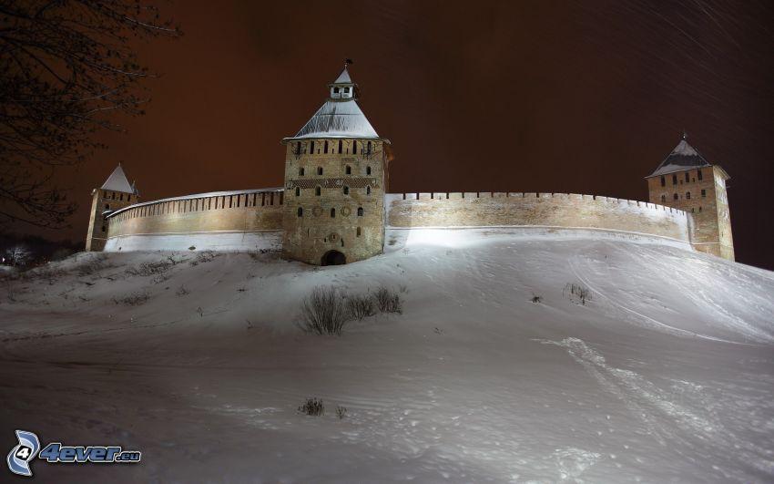 Velikij Novgorod, murrallas, nieve