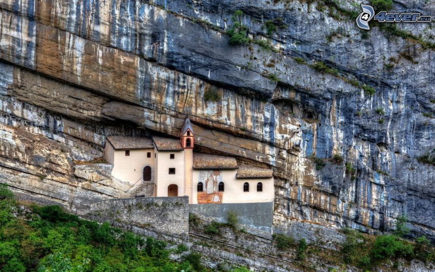 iglesia, roca, HDR