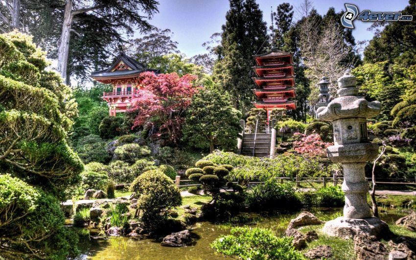 jardín, Japón, HDR