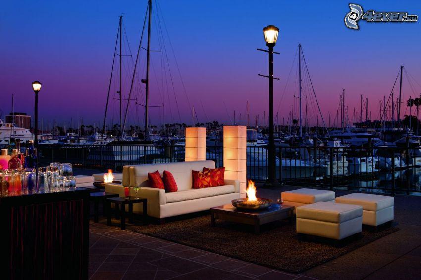 Marina Del Rey, puerto, naves, asiento, terraza, atardecer, iluminación, California