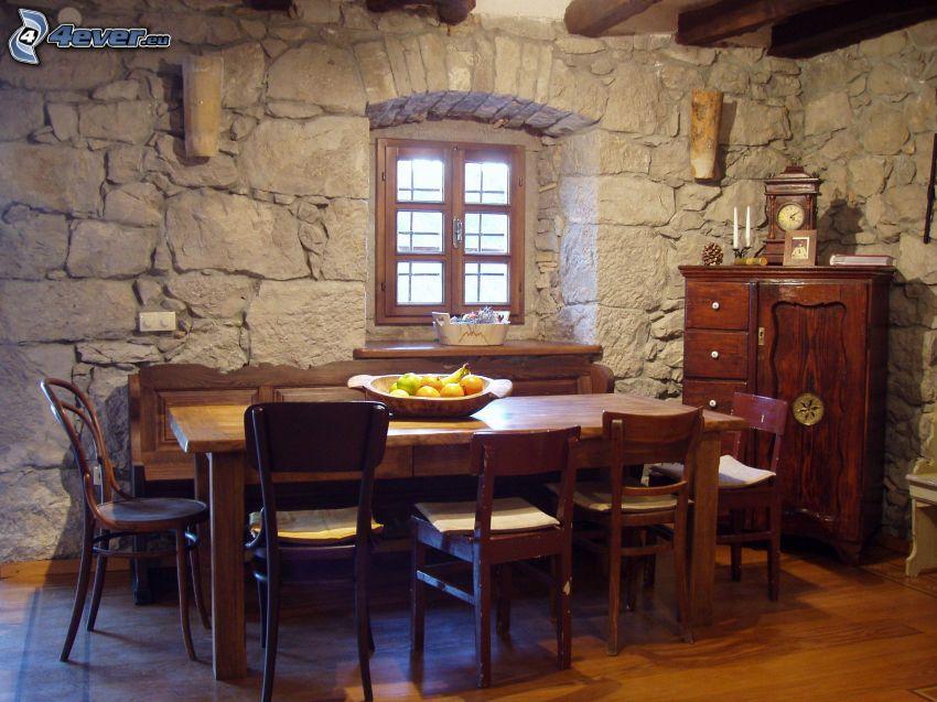 mesa, sillas, muro de piedra, ventana