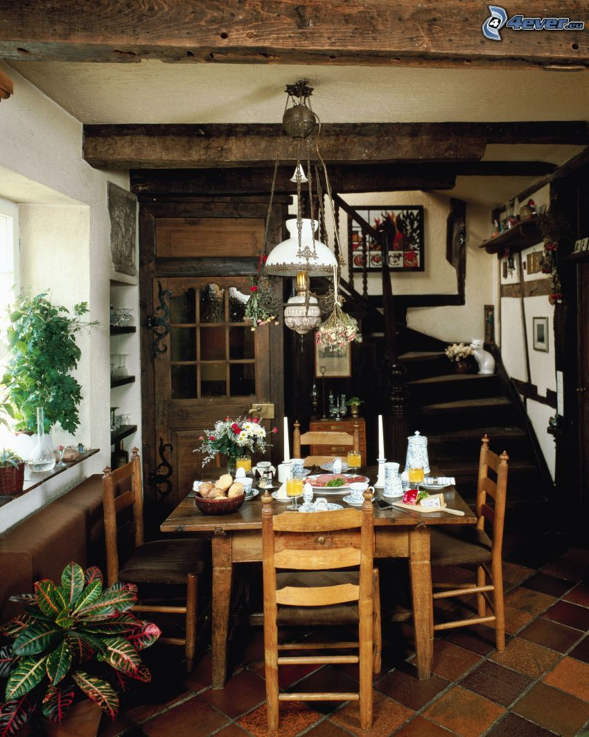mesa puesta, lámpara, escalera, flores, interior