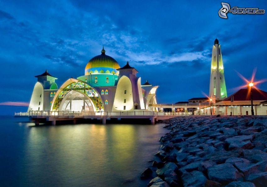 mezquita, atardecer, iluminación, agua