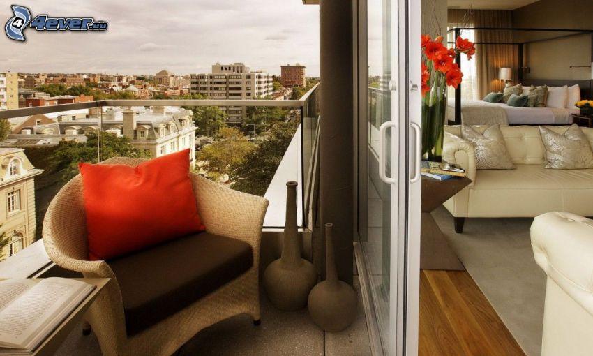 balcón, silla