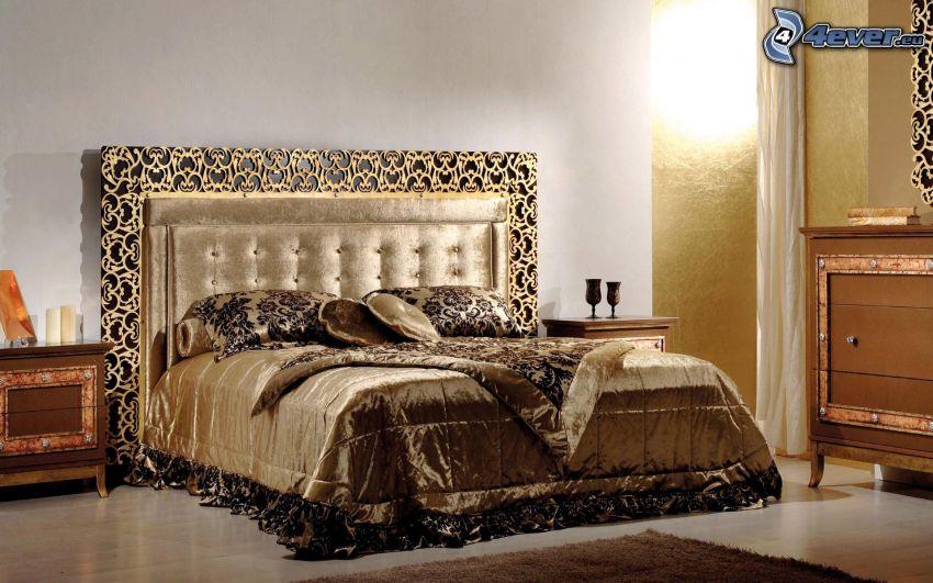 cama doble, mesita de noche