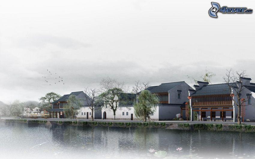 casas, lago
