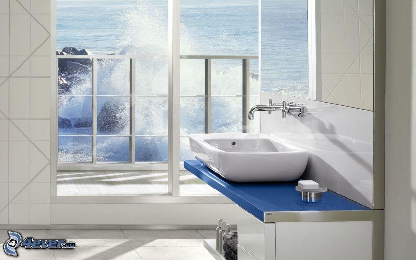 cuarto de baño, lavabo, mar