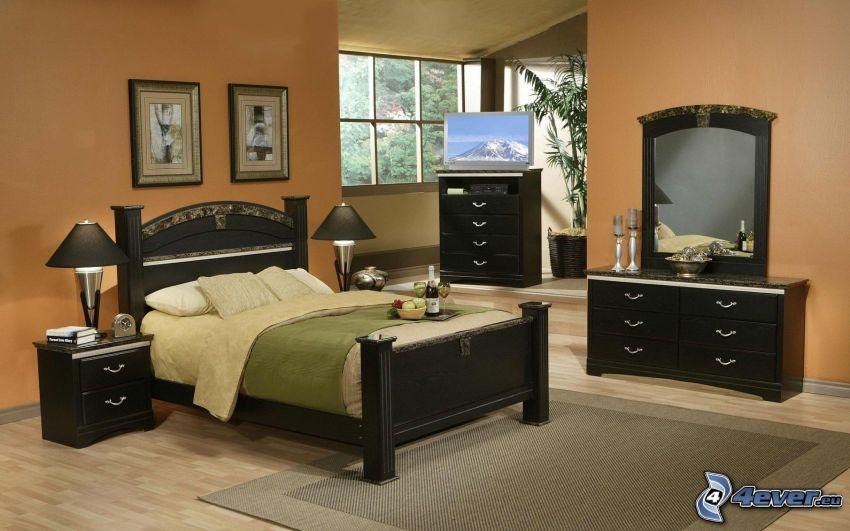 dormitorio, cama doble, armario
