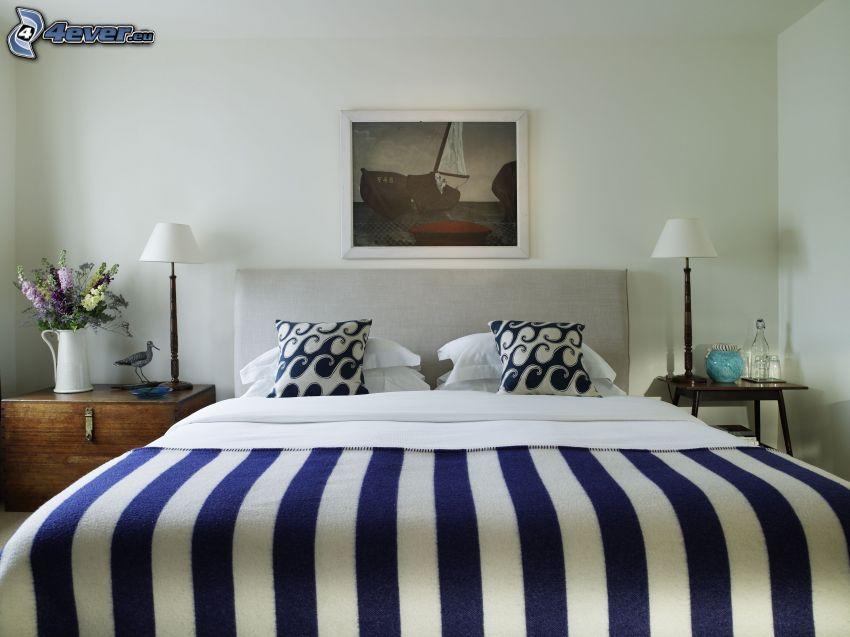 dormitorio, cama doble, dibujo, mesita de noche