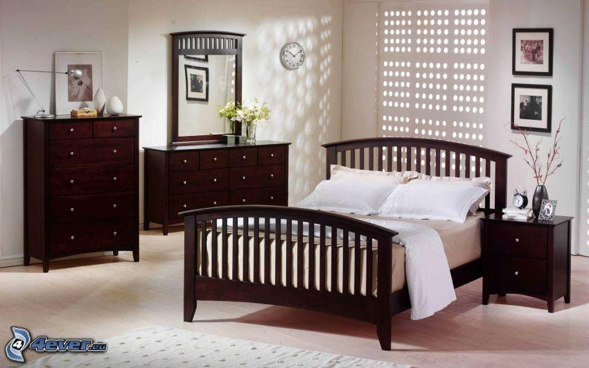 dormitorio, cama doble, gabinetes, mesita de noche, espejo