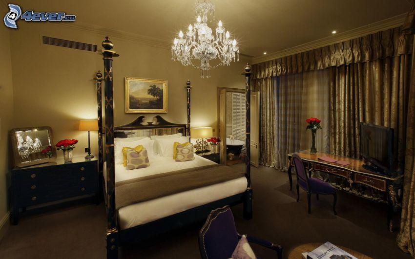 dormitorio, cama doble, lámpara, mesita de noche