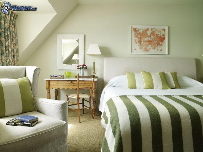dormitorio, cama doble, silla, dibujo, espejo
