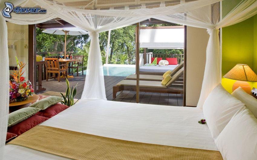 dormitorio, cama doble, sillas, piscina, terraza