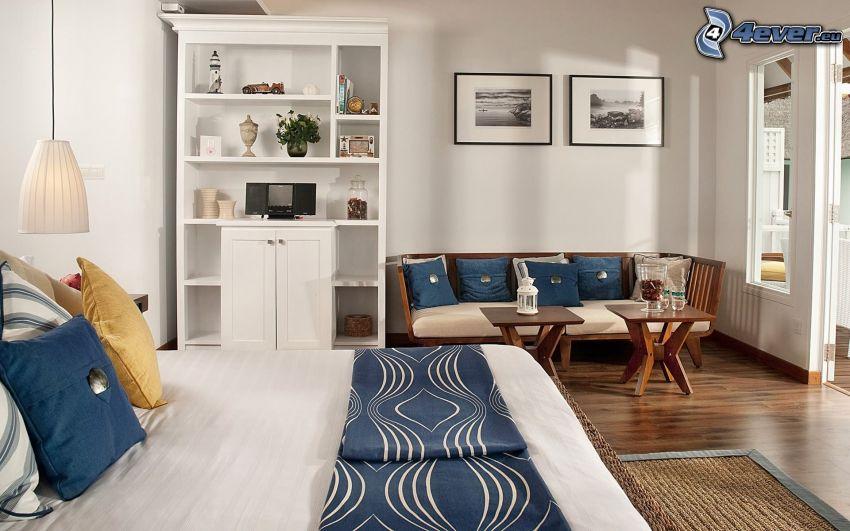 dormitorio, cama doble, sofá, armario