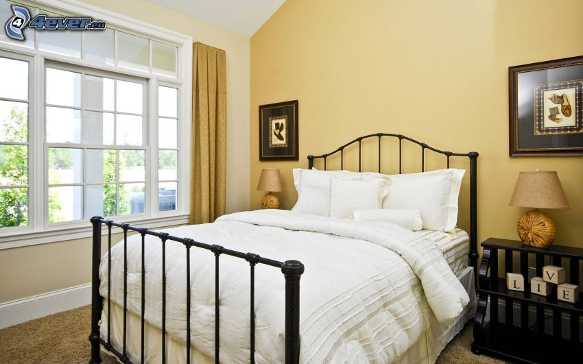 dormitorio, cama doble, ventana, imágenes, mesita de noche