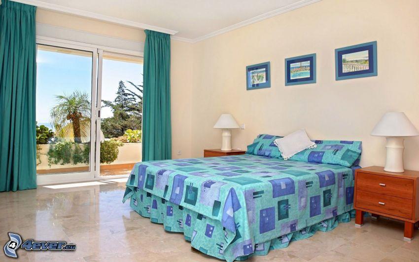 dormitorio, cama doble, ventana, mesita de noche, imágenes