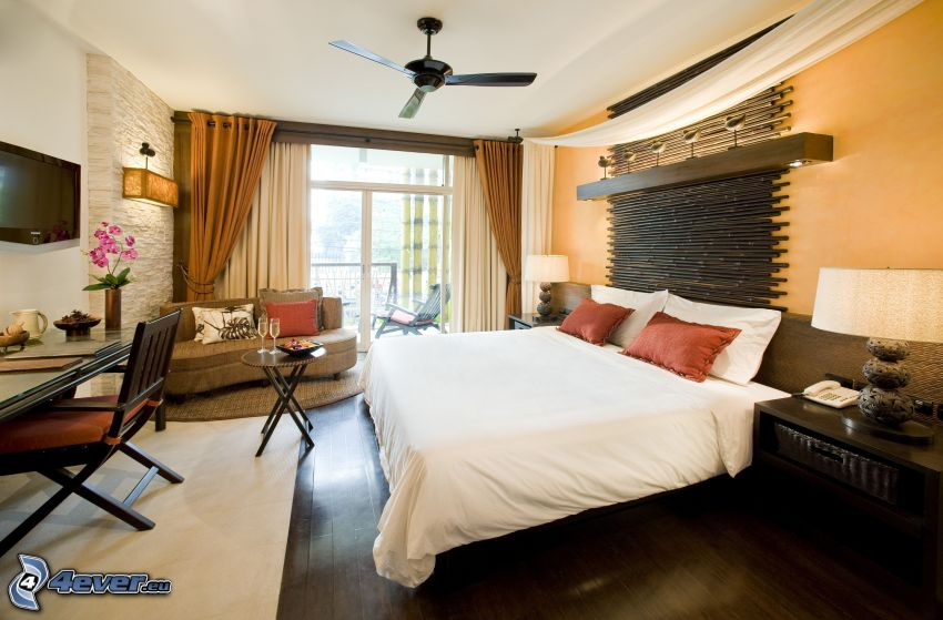 dormitorio, cama doble, ventana, sofá