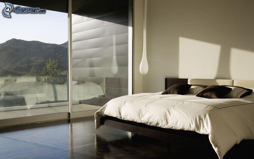 dormitorio, cama doble, ventana