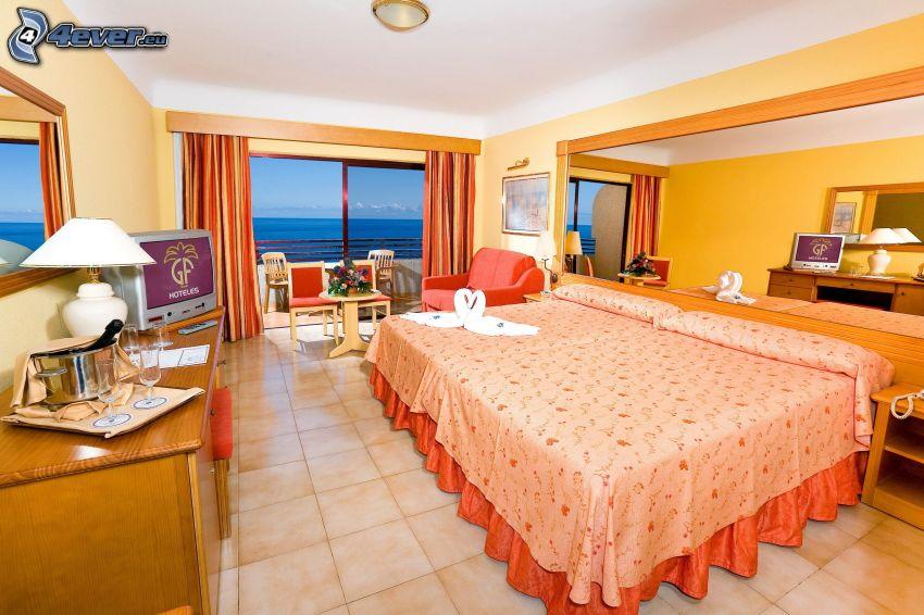 dormitorio, cama doble, vista al mar