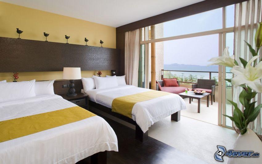 dormitorio, camas, terraza