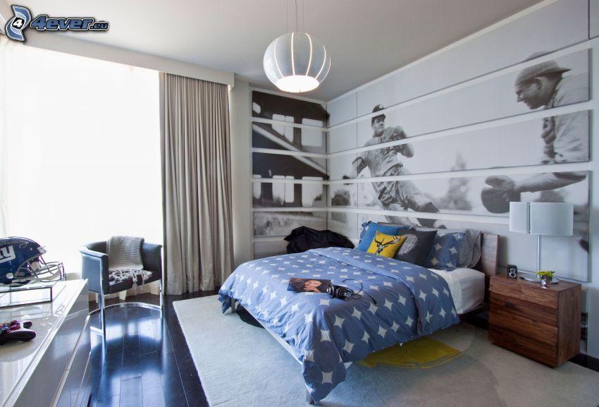 dormitorio, fútbol, cama doble