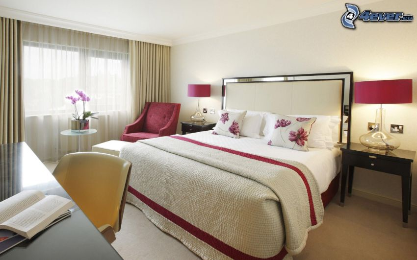 dormitorio, ventana, sillas