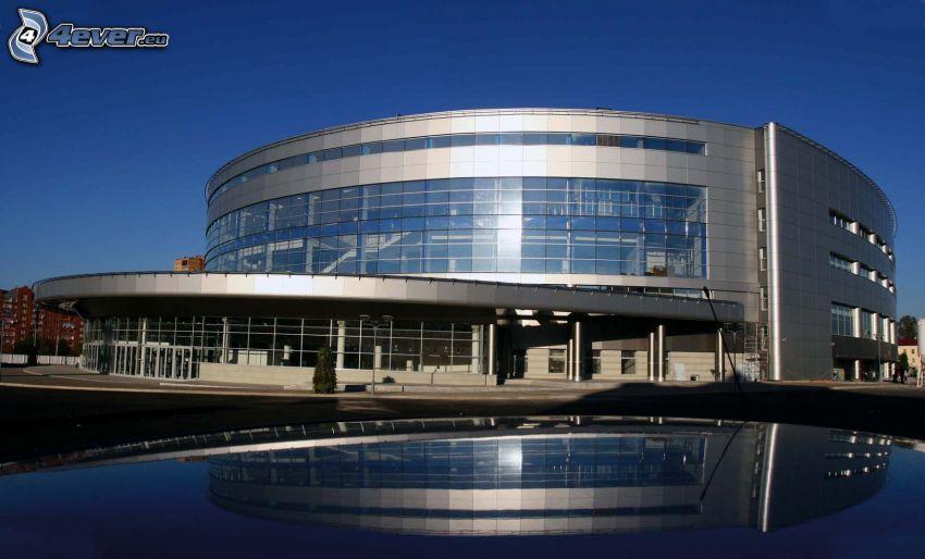 edificio, agua, reflejo