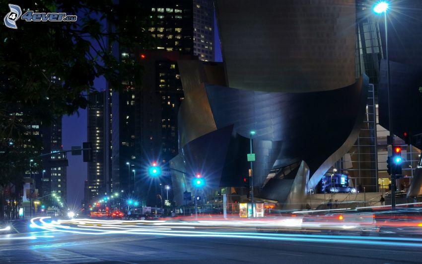 edificio, calle, noche