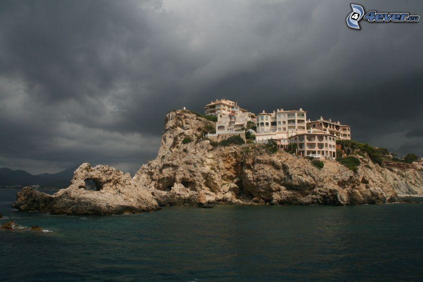 edificio, roca, mar, nubes