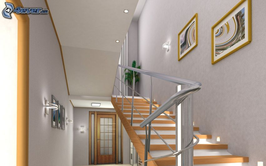 escalera, corredor