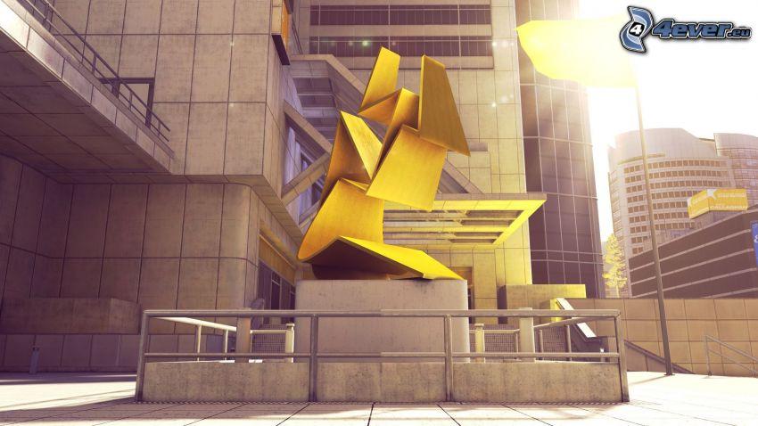 estatua, construcción, edificio