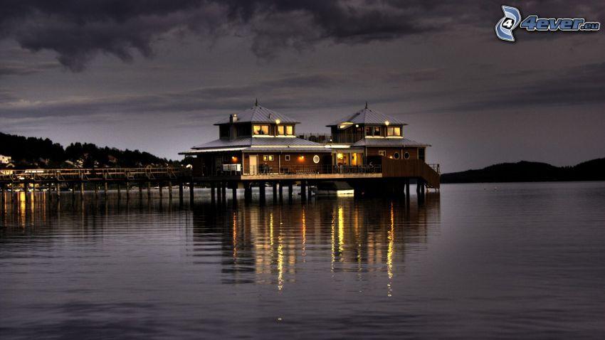 hotel, río, atardecer, iluminación