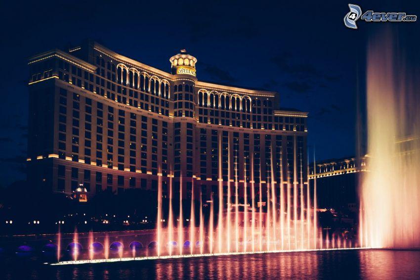 hotel Bellagio, Las Vegas, fuente, ciudad de noche