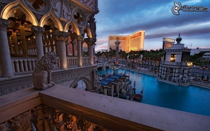 Las Vegas, edificio, estatua de león, río